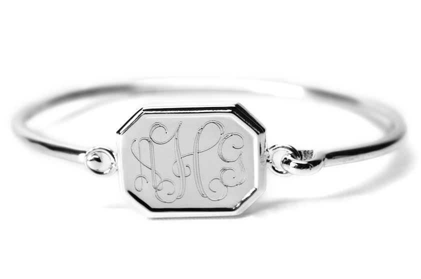 Engravable German Silver Octogon Bracelet