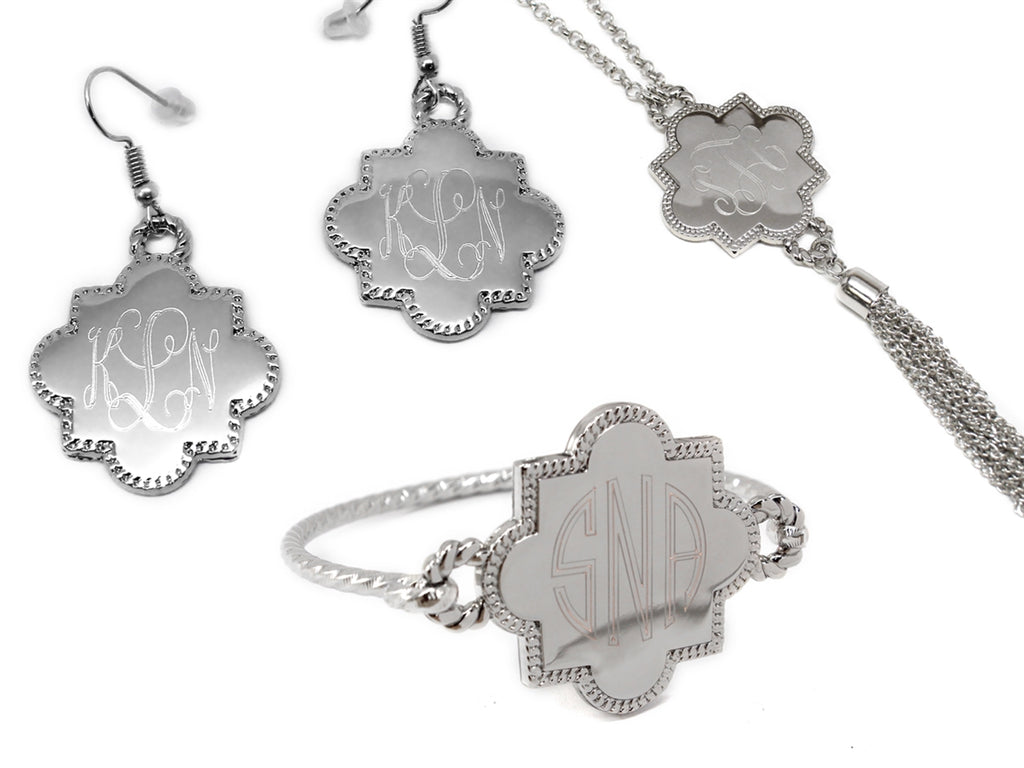 Engraved Quatrefoil Necklace, Bracelet, and Earrings Set