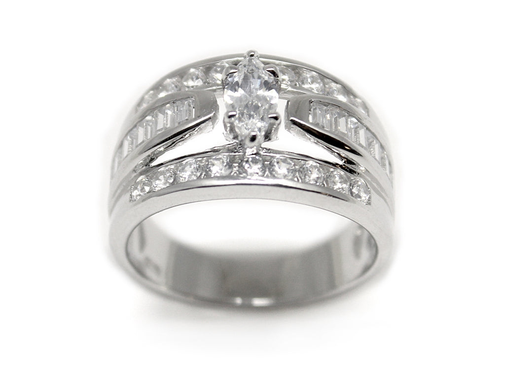 Sterling Silver  CZ Square-cut Ring