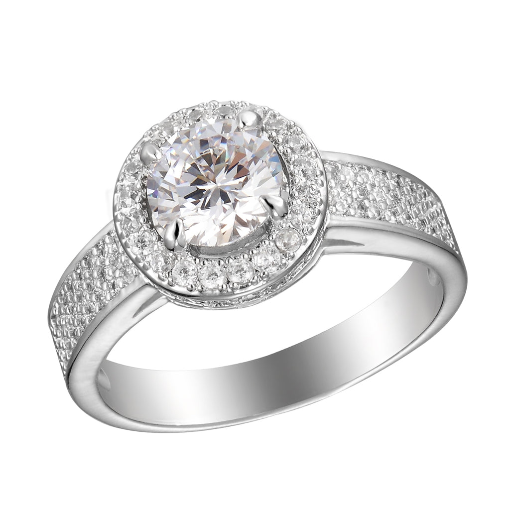 Sterling Silver CZ Circle-cut Ring with CZ Band