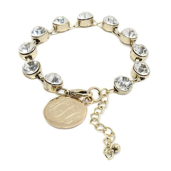 Gold Crystal Clear Dot Charm Bracelet