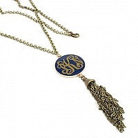 Navy and Antique Gold Acrylic/Tassel Necklace