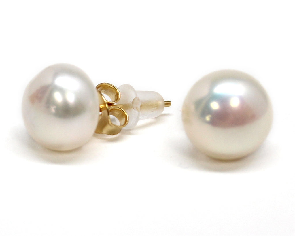 Engravable Gold Sterling Silver CZ Earrings w/ Pearl Studs