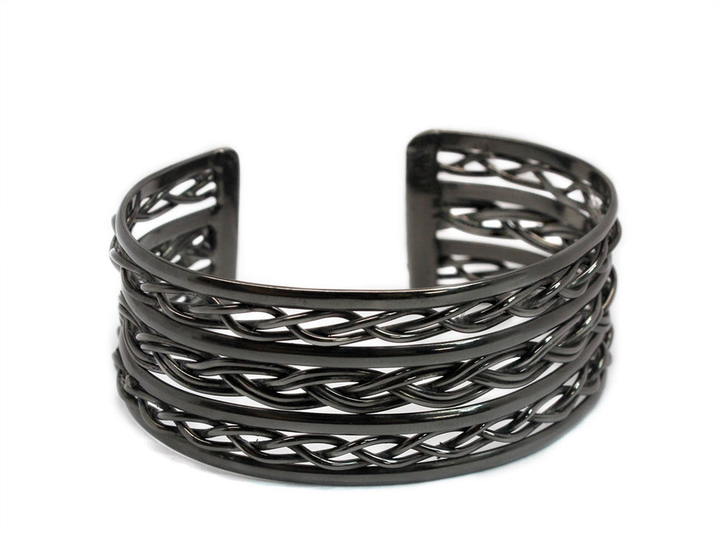 German Silver Triple Woven Rope Cuff Bracelet