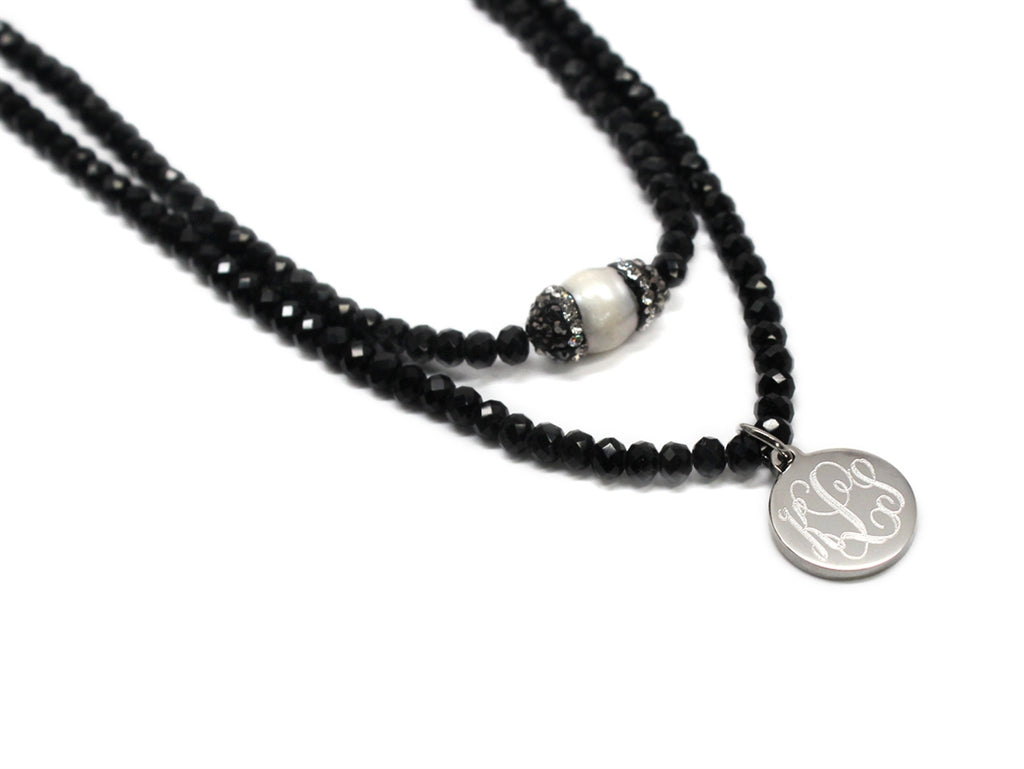 Black Crystal Layered Beaded Choker with Engraved Stainless Steel Disc