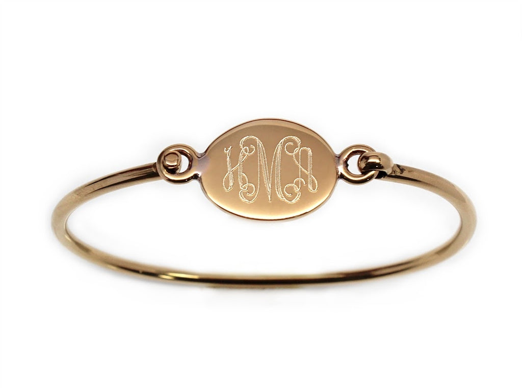 Gold Oval Engravable German Silver Bracelet - Allyanna Gifts