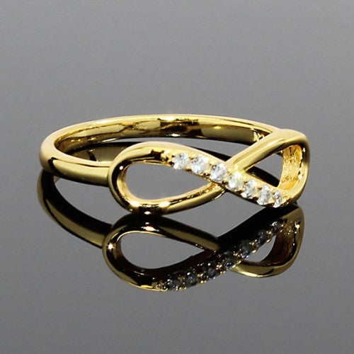 Gold Plated Sterling Silver CZ Infinity Ring - Allyanna Gifts