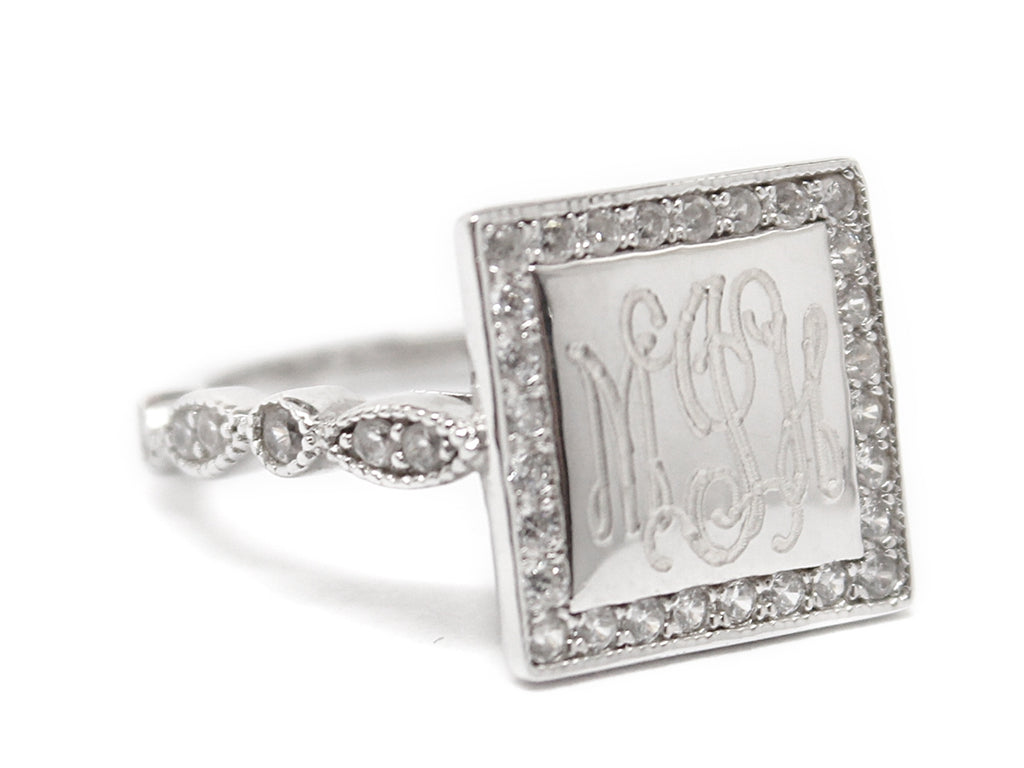 Square Sterling Silver CZ Ring