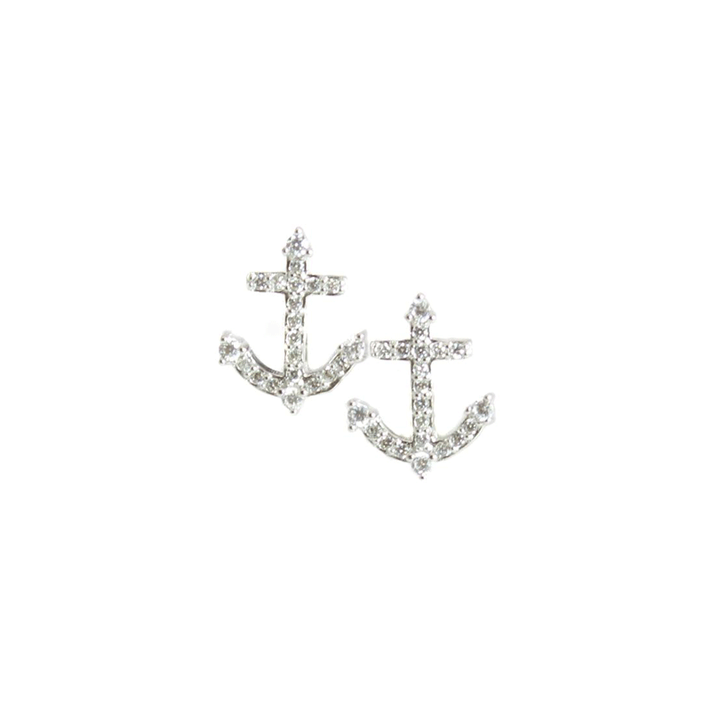 Unique CZ Stone Anchor Earrings