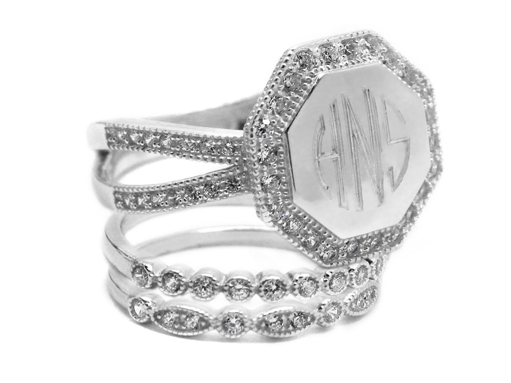 Monogrammed Decorative Stackable Sterling Silver Octagon CZ Ring
