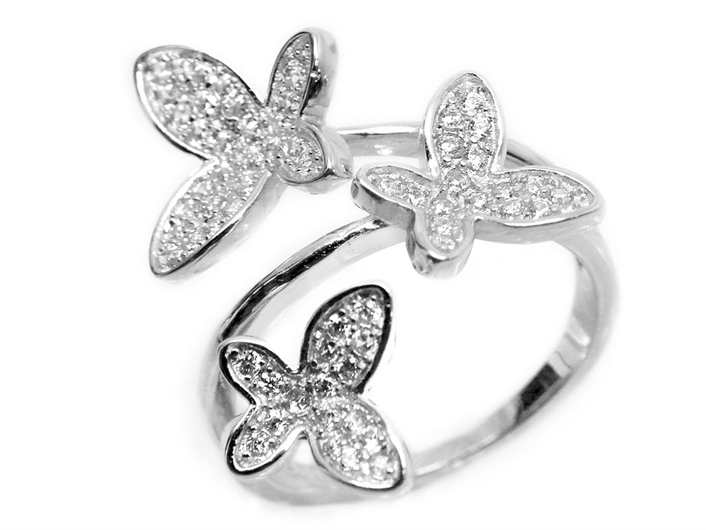 Sterling Silver CZ Triple Butterfly Ring - Allyanna Gifts