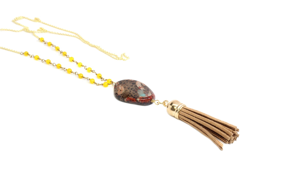 Reptile Stone & Tassel Necklace