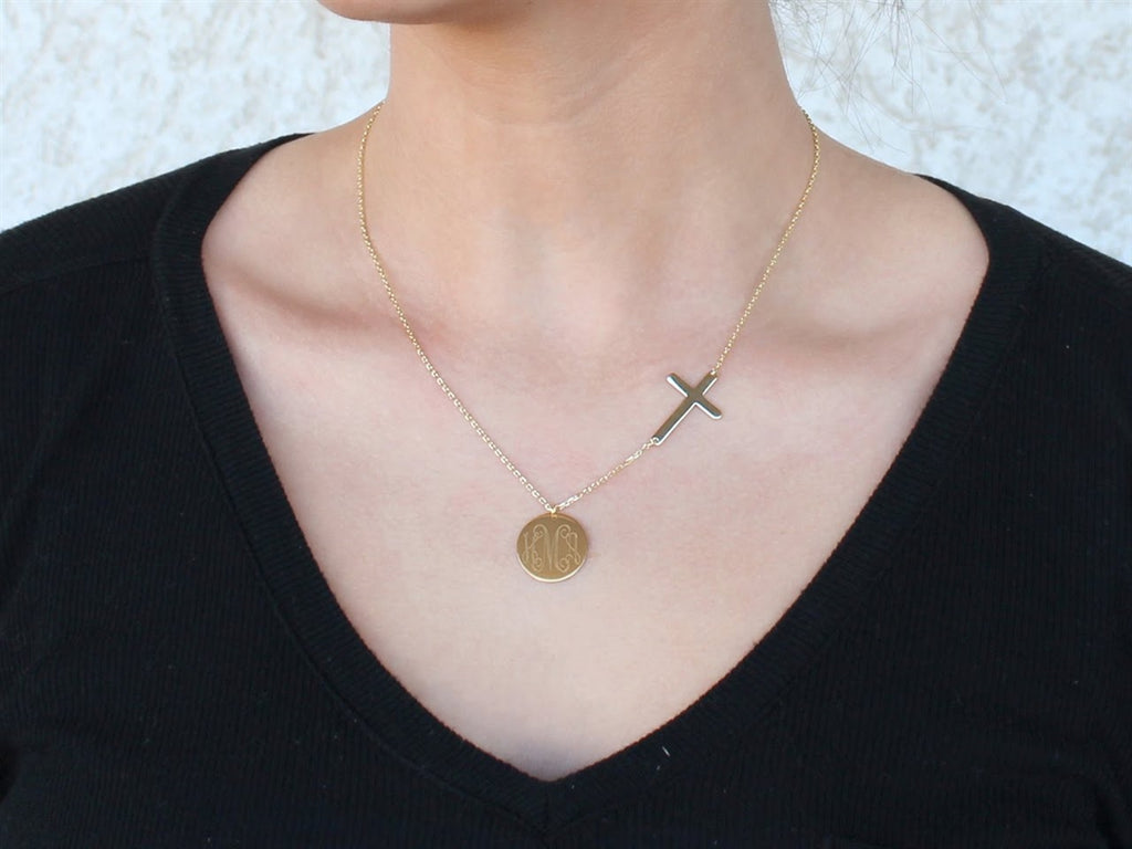 Sterling Silver Cross Necklace with Engravable Disc