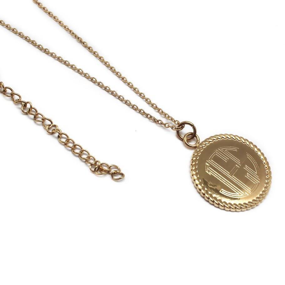 Stainless Steel Necklace With Rope Around Disc Pendant