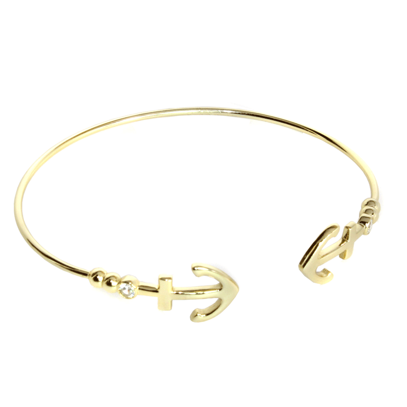 Golden Double Anchor Bracelet - Allyanna Gifts