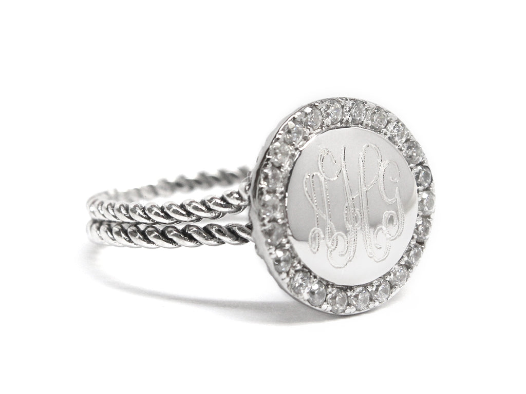 Sterling Silver Double Rope Engravable CZ Ring - Allyanna Gifts