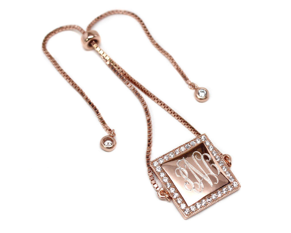 Sterling Silver Rose Gold Square Engravable CZ Tassel Bracelet