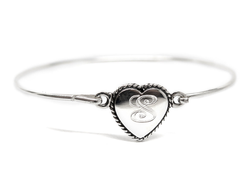 Sterling Silver Rope Heart Baby Bangle - Allyanna Gifts