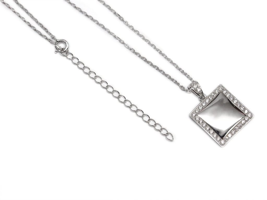 Sterling Silver Square Engravable CZ Necklace with Bell - Allyanna Gifts