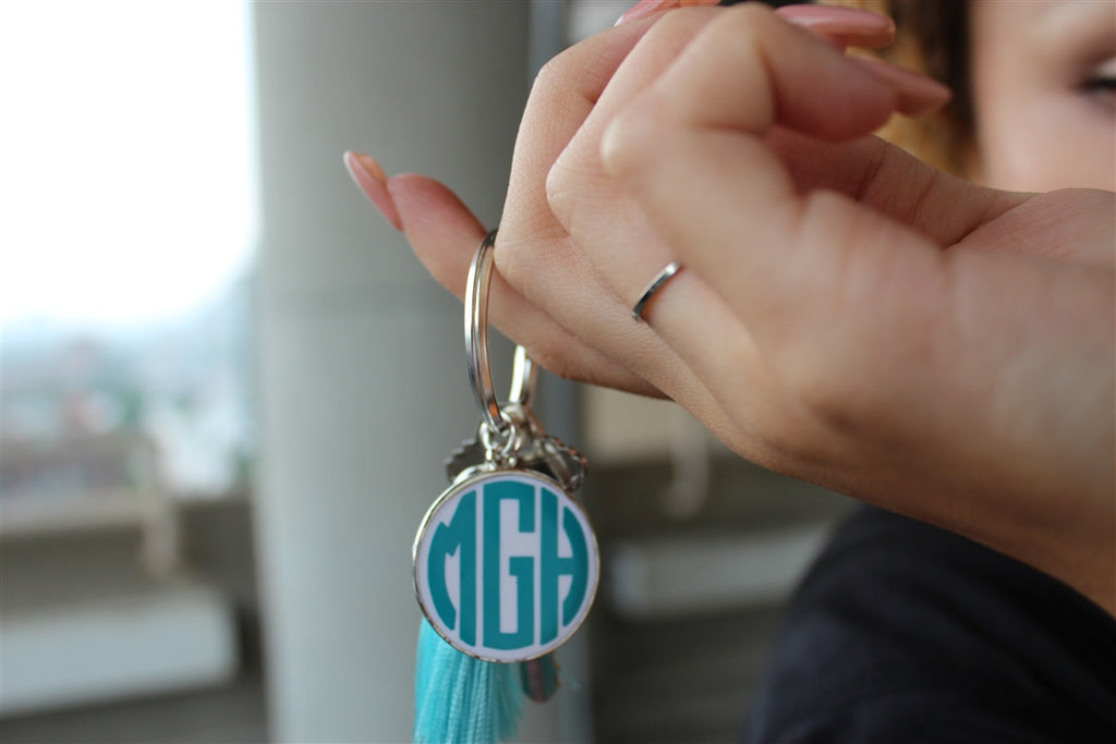 Monogram Tassel Key Chain - Allyanna Gifts