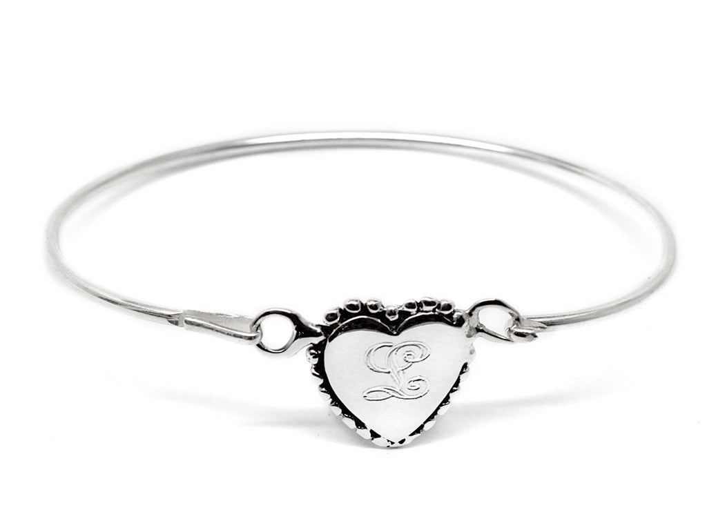 Sterling Silver Beaded Heart Baby Bangle - Allyanna Gifts