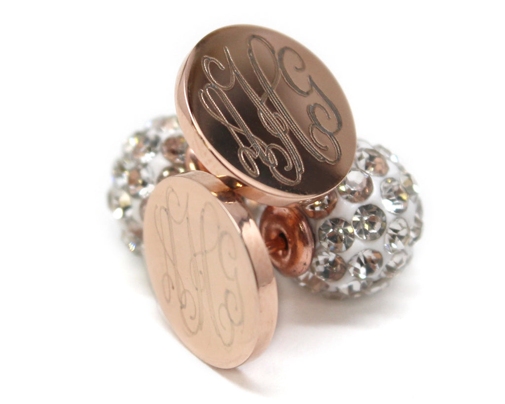 Stainless Steel Rose Gold Monogram Earrings with Crystal Backs, Allyanna Gifts