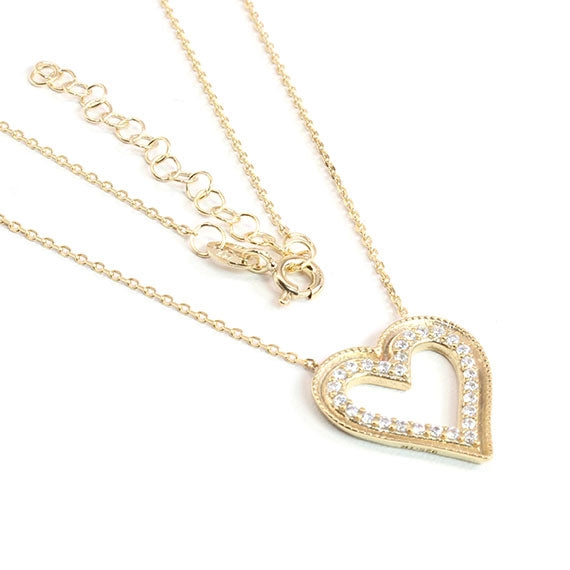 Sterling Silver Heart of Gold Necklace