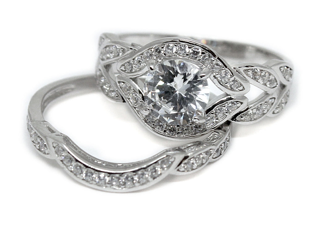 Sterling Silver Fitted Double Band Decorative CZ Ring - Allyanna Gifts