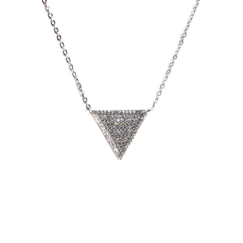 Silver CZ Stone Triangle Necklace - Allyanna Gifts