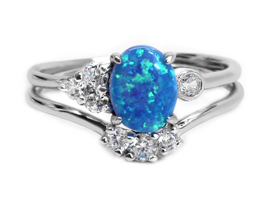 Sterling Silver Blue Opal Double Band CZ Ring