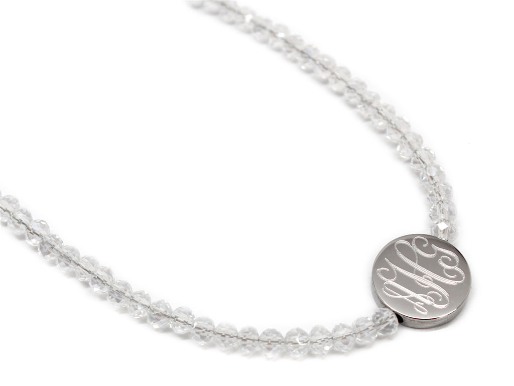 Clear Crystal Beaded Choker with Engraved Stainless Steel Disc - Allyanna Gifts