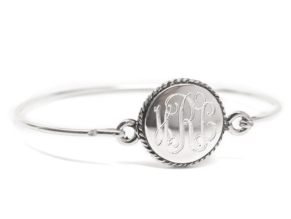 Sterling Silver Rope Circle Baby Bangle - Allyanna Gifts