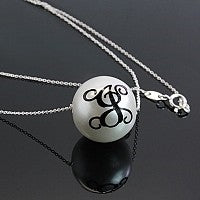 Black Initial Pearl Necklace