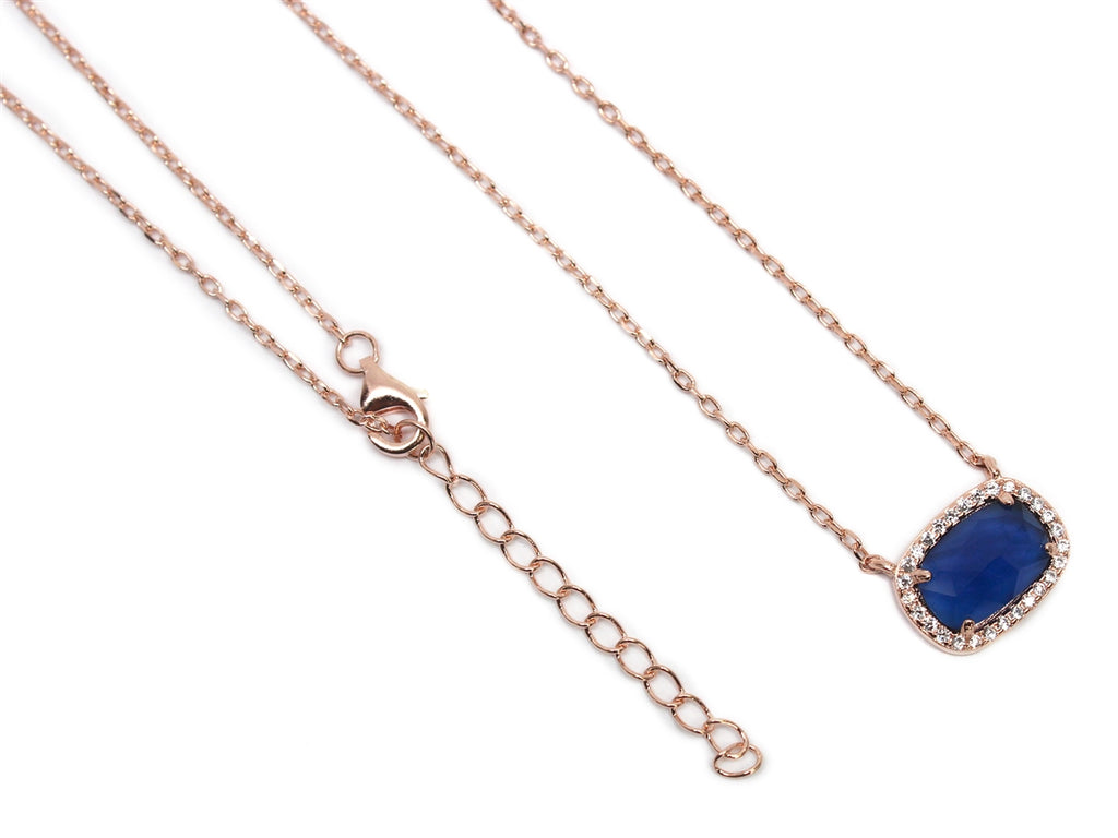 Sterling Silver Dark Blue Gemstone Necklace - Allyanna Gifts