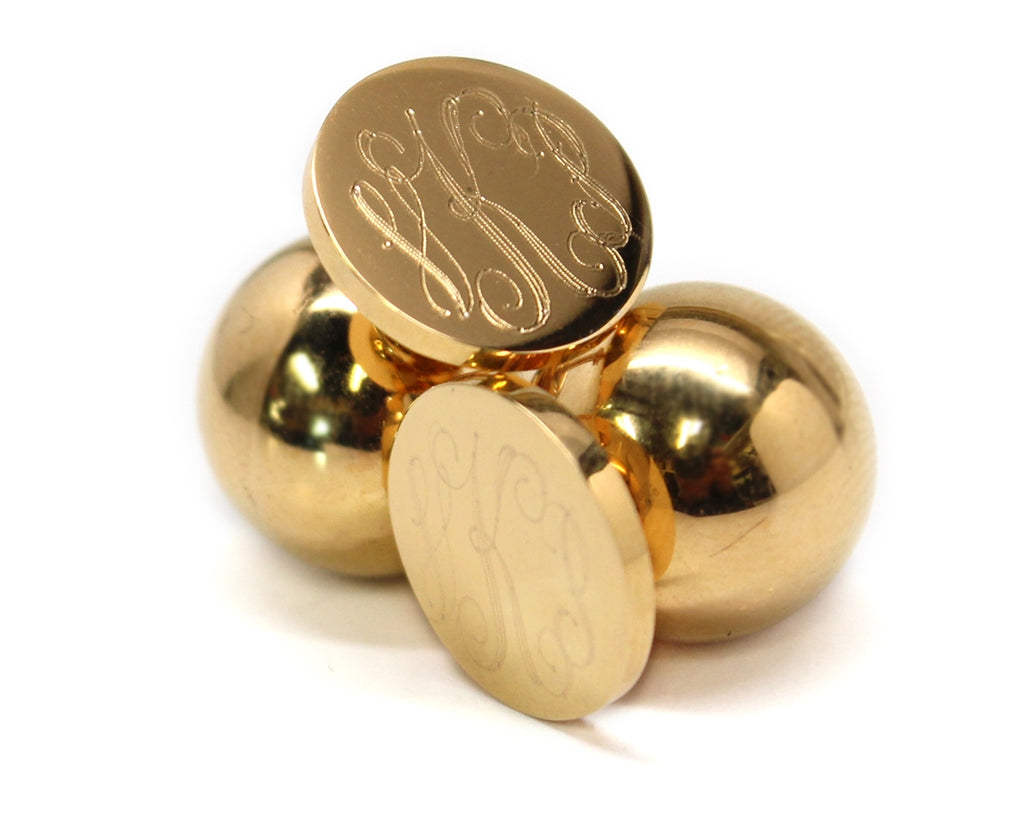 Stainless Steel Gold Monogram Earrings with Gold Ball Backs