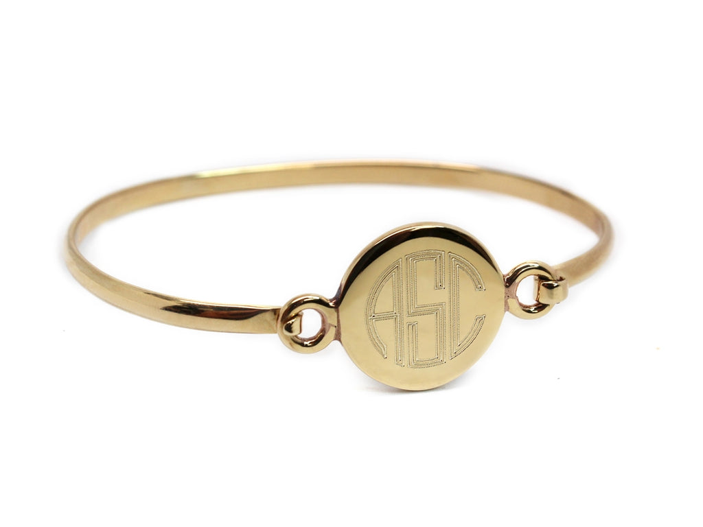 Gold Circle Engravable German Silver Bracelet - Allyanna Gifts