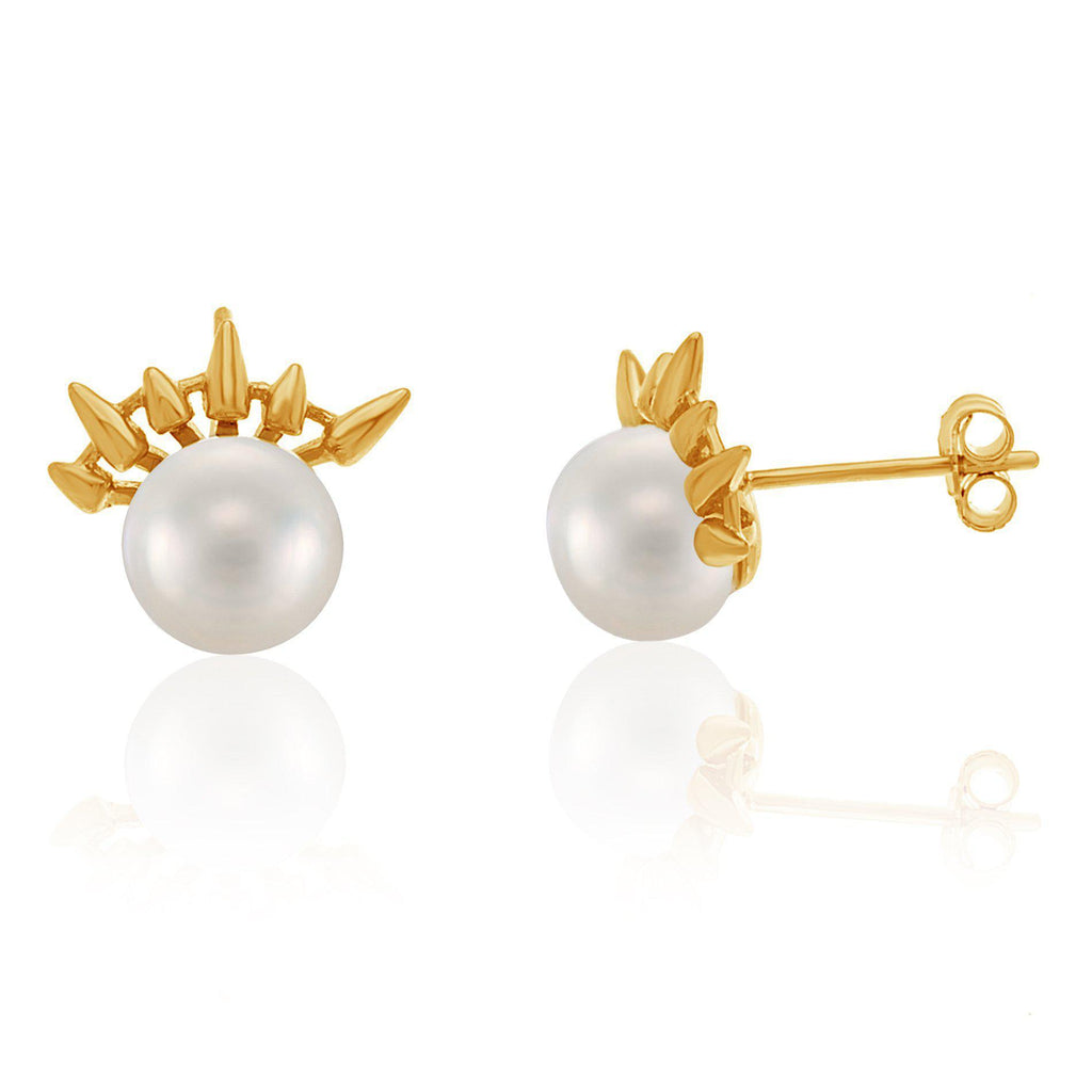 Sterling Silver Gold Pearl Center& Spikes Post Earrings
