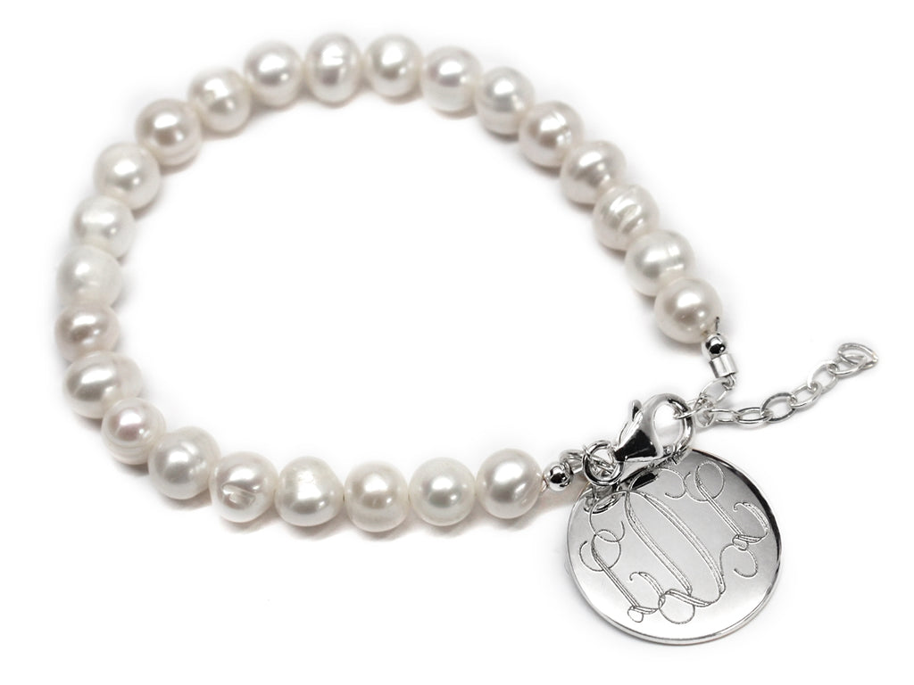 Pearl Bracelet with Engraved Sterling Silver Disc