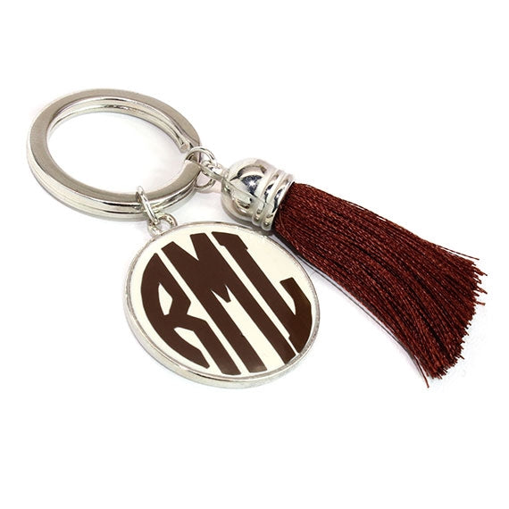 Creme with Espresso Silk Tassel Key Chain