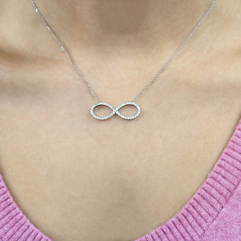 Sterling Silver CZ Infinity Necklace - Allyanna Gifts