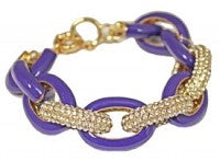 Designer Inspired Purple Large Gold Pave Bracelet