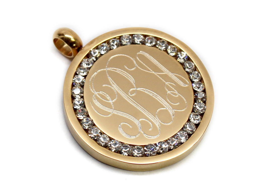 Stainless Steel Engravable Gold CZ Pendant