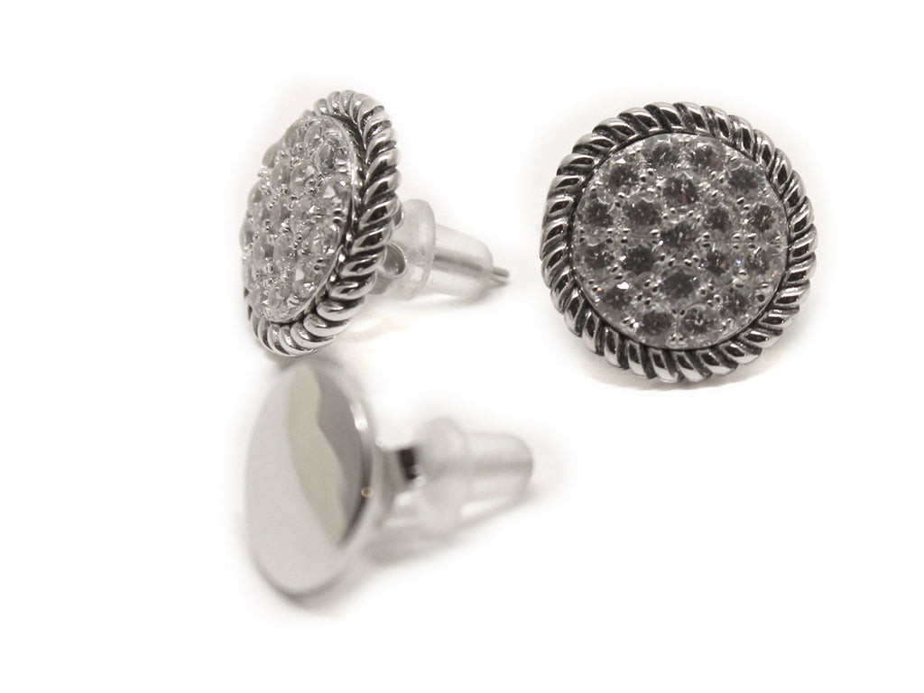 Engravable Sterling Silver Earrings w/ CZ Studs