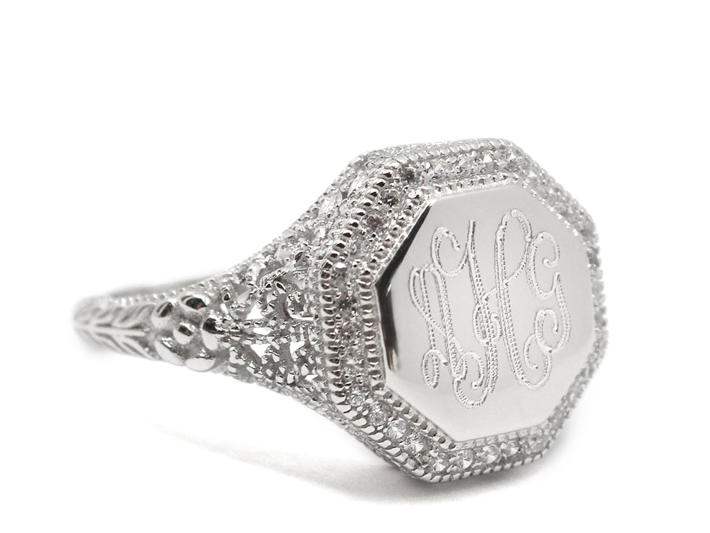 Sterling Silver Engravable Octagon Filigree Ring