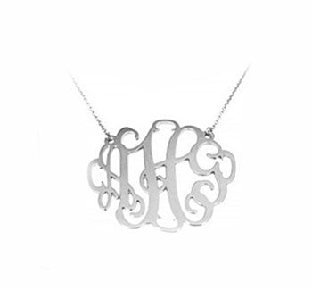 Sterling Silver Whimisical Monogram Necklace (Small)