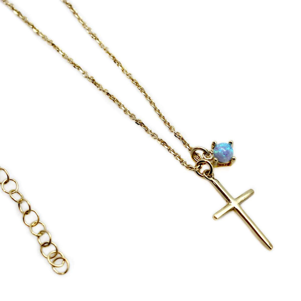 Cross Opal Necklace