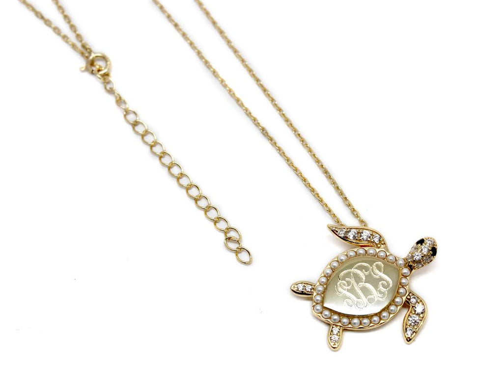 Sterling Silver Decorative Turtle Necklace - Allyanna Gifts
