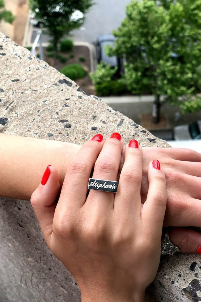 Sterling Silver Engraved Bar Ring - Allyanna Gifts