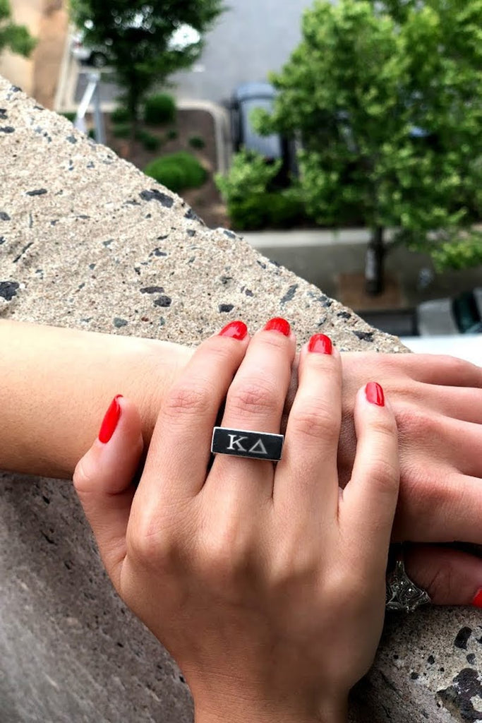 Sorority Letter Engraved Bar Ring - Allyanna Gifts