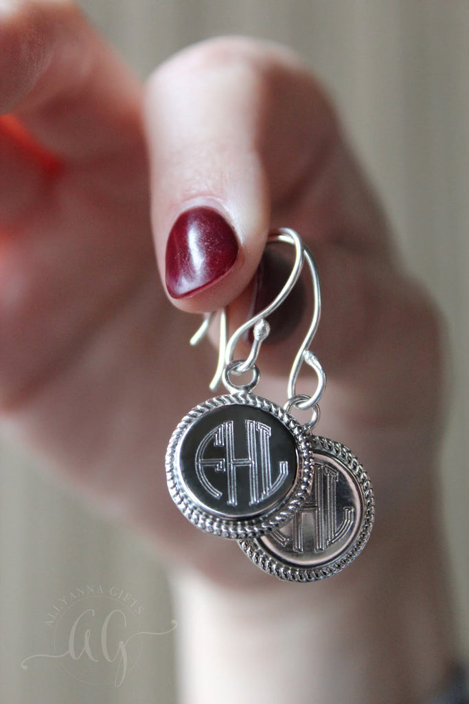 Circle Rope Monogram Earrings - Allyanna Gifts